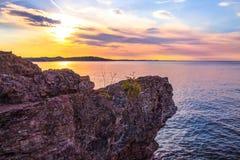 Заход солнца Marquette Мичигана Стоковая Фотография