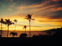 заход солнца maui Стоковое фото RF