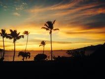 заход солнца maui Стоковая Фотография RF