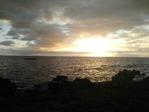 заход солнца maui Стоковые Фотографии RF