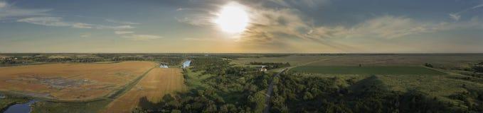 Заход солнца Midwest River Valley Стоковая Фотография