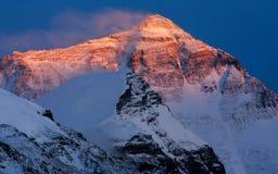 Заход солнца Mount Everest Стоковое Фото