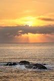 Заход солнца Mysthical над морем Стоковое Изображение RF