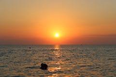 Заход солнца Neos Marmaras стоковые изображения rf