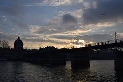 заход солнца paris Стоковое Изображение RF