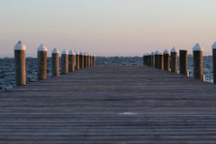 Заход солнца Peir Стоковая Фотография RF