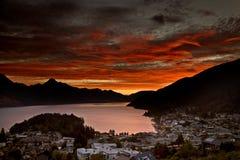 Заход солнца Queenstown Новой Зеландии Стоковая Фотография