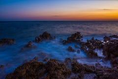 Заход солнца Razanj Хорватия Стоковая Фотография RF