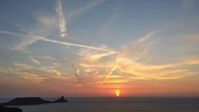 Заход солнца Rhossili Стоковая Фотография