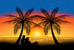 Заход солнца Romance Стоковая Фотография