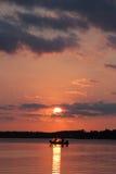 заход солнца sava реки рыболовов belgrade Стоковые Фото