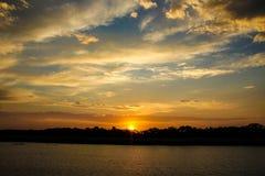 заход солнца st lucia Стоковые Фото