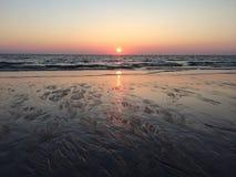 Заход солнца Sylt Стоковые Фотографии RF