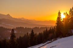Заход солнца Tatra Стоковая Фотография
