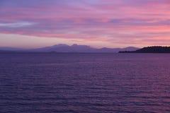 Заход солнца Taupo Новая Зеландия Стоковые Изображения RF