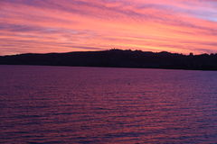 Заход солнца Taupo Новая Зеландия Стоковое Изображение