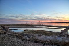 Заход солнца Texoma озера стоковая фотография