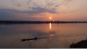 Заход солнца themekongriver Nakhonphanom Стоковые Изображения
