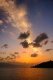 Заход солнца Toba Стоковая Фотография