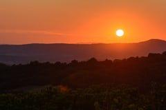 Заход солнца Toscana Стоковые Фотографии RF