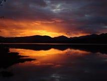 Заход солнца Tulla озера стоковое изображение rf