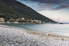 Заход солнца Vasiliki, лефкас, Ionian острова Стоковое Изображение RF