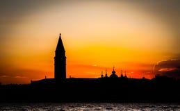 заход солнца venice Италии Стоковые Фото