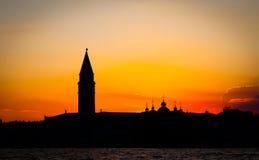 заход солнца venice Италии Стоковое фото RF