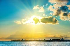 заход солнца venice Стоковые Фотографии RF