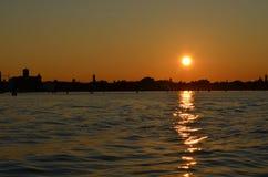 заход солнца venice Стоковые Изображения