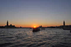 заход солнца venice Стоковое Изображение RF