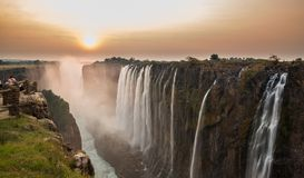 Заход солнца Victoria Falls стоковая фотография