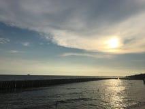 Заход солнца viwe озера стоковая фотография rf