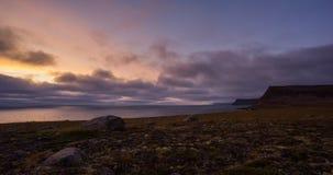 Заход солнца Wesfjords сток-видео