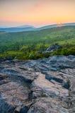 Заход солнца Wilburn Риджа, гористые местности Grayson, Вирджиния стоковые фотографии rf