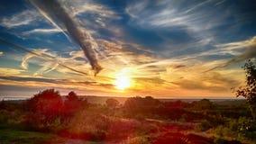 Заход солнца Wirral над dee реки стоковая фотография rf