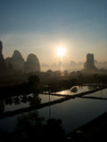 Заход солнца Yangshuo Стоковые Фото
