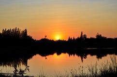 Заходы солнца берега озера Стоковые Фотографии RF