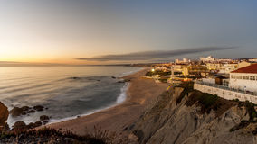 Заходы солнца над Santa Cruz, Португалией стоковое фото rf