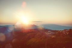 Заходы солнца парка сада внешние, горы phurue Таиланд Стоковая Фотография RF