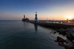 Заходящее солнце гавани стоковая фотография rf