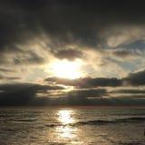 Заходящее солнце на Кардиффе Стоковая Фотография RF