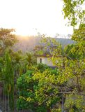 Заходящее солнце на холмах Стоковая Фотография