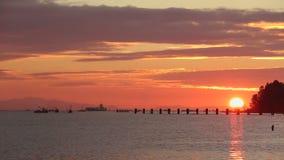 Заходящее солнце, Река Fraser, Steveston сток-видео