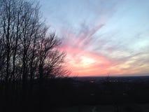 Заходящее солнце Glastonbury Стоковое Фото