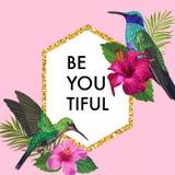 Зацветая рамка весны и лета флористическая с тропическими колибри Цветки гибискуса акварели для приглашения, Wedding иллюстрация вектора
