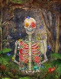 Зацветая скелет в темном лесе с бабочками иллюстрация вектора