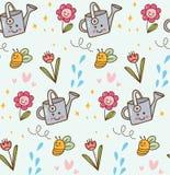 Зацветая цветок в предпосылке стиля kawaii иллюстрация вектора
