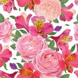Зацветите безшовная картина с красивыми розовыми цветками и розами лилии alstroemeria на белом шаблоне предпосылки Стоковые Фотографии RF