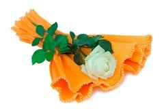 Зацветите белая роза с листьями на белой предпосылке Стоковая Фотография